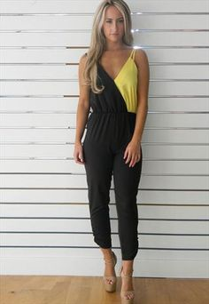 Contrast Strappy Jumpsuit In Black & Yellow
