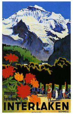 Interlaken 1930 Switzerland Vintage Poster Art Print Swiss Travel Advertisement Free US Post Low EU Post Fast Shipping by VintagePosterPrints on Etsy Party Vintage, Pub Vintage, Love Vintage, Vintage Art, Poster Retro, Vintage Ski Posters, Poster Art, Custom Posters, Swiss Travel