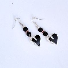 Black White Crystal Heart Earrings, heart dangle earrings w/ red & clear crystals, FREE Shipping in U S A by ArizonaBeadWorks on Etsy