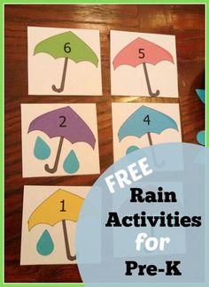 FREE preschool counting activity. Add the raindrops under the umbrella.