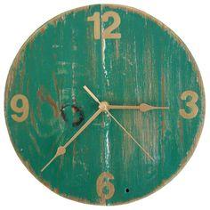 Clock - Green & Gold Floorboard Wall Clock - Folksy