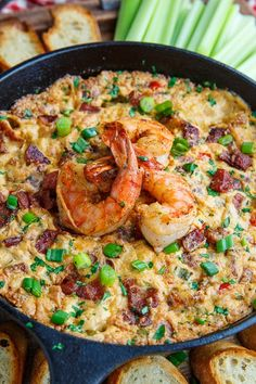 Cajun Shrimp and Andouille Cheese Dip Recipe : A hot melted cheese dip just packed with shrimp and andouille sausage and cajun style flavours! Cheese Dip Recipes, Fish Recipes, Seafood Recipes, Cheese Dips, Cajun Recipes, Yummy Recipes, Sausage Crockpot Recipes, Andouille Sausage Recipes, Sausage Dip