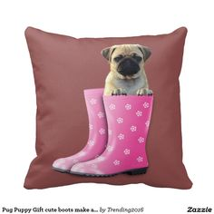 Pug Puppy Gift cute boots make a comfy bed Marsala Throw Pillows