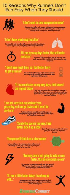 10 Reasons Runner's Don't Run Easy (Even When They Know They Should). We are all guilty of this sometimes, this post shows the thoughts we often have, and how to combat them! Very helpful!