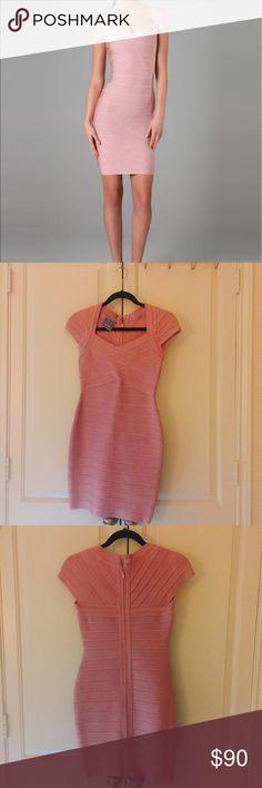 Herve Leger pink dress Like new! Excellent condition. Pink bandage body con dress. Herve Leger Dresses Midi