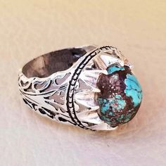 FREE DHL shipping nishapur turquoise blue natural high quality stone men ring sterling silver 925 semi precious gem middle eastern ring Mens Ring Sizes, Silver Man, Turquoise Stone, Handmade Silver, Turquoise Bracelet, Sterling Silver Rings, Rings For Men, Middle, Crystal
