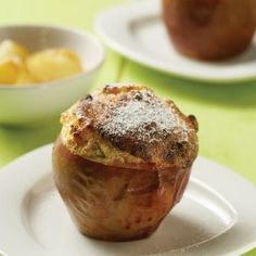 apple souffles with caramelized apples