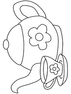 Artes da Nil - Riscos e Rabiscos: Bules, xicaras e chaleiras Embroidery Patterns Free, Embroidery Stitches, Hand Embroidery, Quilt Patterns, Coloring Pages For Kids, Coloring Books, Kids Coloring, Coloring Sheets, Colouring