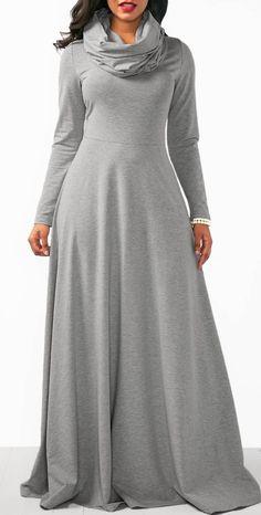 Grey Cowl Neck Long Sleeve Maxi Dress.