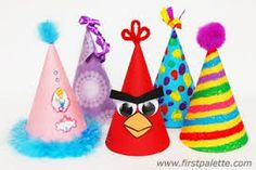 Birthday hat craft, birthday hat craft, party hat craft, cone party h Birthday Party Hats, Birthday Crafts, Fun Crafts For Kids, Arts And Crafts, Kids Fun, Cone Template, Clown Hat, Hat Crafts, Paper Tree