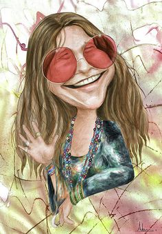 Janis Joplin by adamrabello Janis Joplin, Cartoon Faces, Funny Faces, Cartoon Art, Funny Caricatures, Celebrity Caricatures, Celebrity Drawings, Celebrity Portraits, Rock And Roll