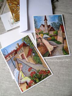 Illustrated postcards from my original paintings
