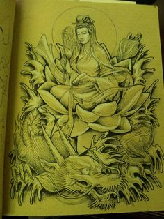 I am drawing a series of designs on a parchment paper book. I was looking around for a shop that would take me in but no luck since my illustrations at the time were not & style& so I drew th. Paper Book, Guanyin, Happy Wife, Future Tattoos, Tattoo Inspiration, New Art, I Tattoo, Poppies, Tatting