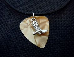 Cowboy Boot Charm on Guitar Pick with Black Velvet Cord Necklace by ItsYourPick on Etsy