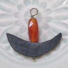 UU Chalice Pendant  Carnelian Gemstone Flame with Handmade Raku Pottery Crescent, by jUUwelry on Etsy