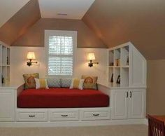 From A Room with a View on FB, this is the nicest use of attic type space with the sloped ceilings I've seen.