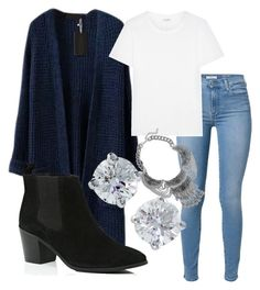 """blue n silver"" by koriunnajackson ❤ liked on Polyvore featuring 7 For All Mankind, Yves Saint Laurent, River Island and Tiffany & Co."