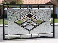 BEVELED DIAMONDS - Large Clear Stained Glass Window Panel with Faceted Bevels Traditional, yet still contemporary in design, this lovely stained Leaded Glass Windows, Stained Glass Panels, Stained Glass Art, Glass Door, Glass Vase, Stained Glass Designs, Stained Glass Projects, Stained Glass Patterns, L'art Du Vitrail