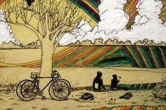 Just another beautiful day on the bike Bicycle Illustration, Bike Drawing, Candy Art, Eye Candy, Bicycle Race, Bike Art, Favim, Heart Art, Cool Bikes