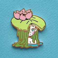 Waterlilies are generally chill to be around, until a number of frogs jump on their heads. Original design pin, with gold plating and 2 rubber clutch backings.Designed by Maddy Jacket Pins, Kawaii Accessories, Hard Enamel Pin, Cool Pins, Pin And Patches, Copics, Pin Badges, Aesthetic Stickers, Lapel Pins
