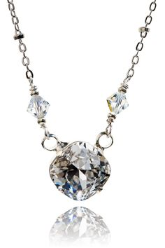 New Swarovski Cushion Cut Clear/Bicone Bead Crystal Pendant Necklace-Luxury Collection by HisJewelsCreations on Etsy https://www.etsy.com/listing/159869639/new-swarovski-cushion-cut-clearbicone