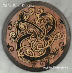 Norse Serpent Dragon Wood Plaque Pyrograpy Viking Jormungandr