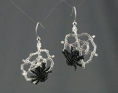 Spider & Web Earrings   Pretty Shiny Beads Beaded Spiders, Bugle Beads, Beaded Earrings, Creepy, Weaving, Costume, Silver, Jewelry, Jewlery