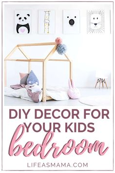 Redecorating a room can get costly. However, when redecorating a kids room some simple, but cute diy projects will do the job! Let them join in and create some unique decor they can be proud of. #kidsroom #kiddecor #kidsbedroom #diydecor
