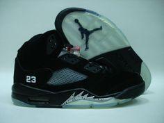 3dbea0563d01ee Air Jordan Retro 5 2000 Black Metallic Silver. Mens Shoes ...