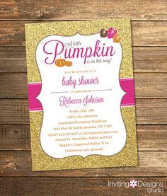 Pink little pumpkin girl baby shower invitations diy printable fall baby shower invitation little pumpkin shower autumn orange pink gold filmwisefo Gallery