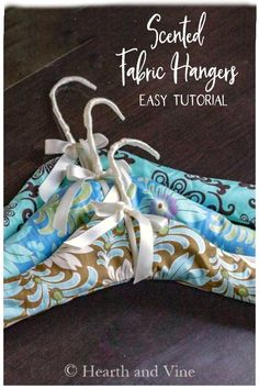 This easy tutorial shows you how to make your own padded hangers from basic wire hangers and add the scent of lavender to make your closet look and smell great. #sewingideas #fabric #gifts #paddedhangers