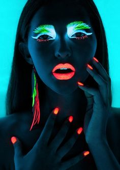 nightlight ideas, neon makeup, editorial, nails, summer, fashion, style
