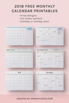 2018 monthly free printable calendars by emmastudies