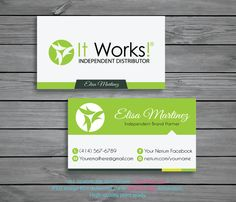 It Works Business Cards Personalized Green Independent Distributor