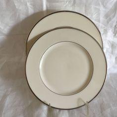 """Two (2) Lenox Montclair B501 Presidential Salad Plates w/Platinum Trim 8 1/4"""" #Lenox"""