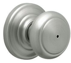 Schlage Andover Privacy Knob, Andover Rose, Satin Nickel by Schlage Lock Company. $24.77. From the Manufacturer                When you install Schlage knobs, you safeguard your home and family as well as your peace of mind. Our knobs will never tarnish, discolor or corrode and will always perform to your expectations. Our wide variety of styles and finishes may make your decision tough. Just like our knobs.                                    Product Description           ...