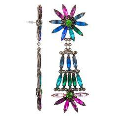 Dannijo Lovisa Gunmetal Plated Brass Earrings With Multicolor Crystals