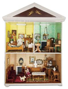 English Wooden Doll House with Furnishings late 19th century