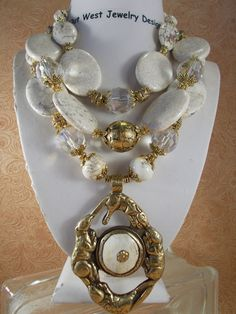 Cowgirl Necklace Set  Chunky White Buffalo Turquoise with Crystal and a Handcrafted Brass & Conch Shell Pendant by Outwestjewelry