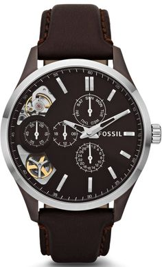 Fossil Watches, Men's Dress Twist Leather Watch Brown #ME1123