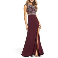 Women's Mac Duggal Open Back Beaded Gown ($538) ❤ liked on Polyvore featuring dresses, gowns, burgundy, purple evening gowns, long gown, burgundy evening gown, beaded evening gowns and long purple dress