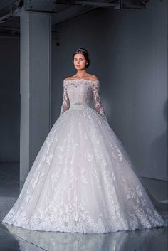 Lace White/Ivory A-Line Chapel Train Wedding Dress Bridal Ball Gown Custom Size
