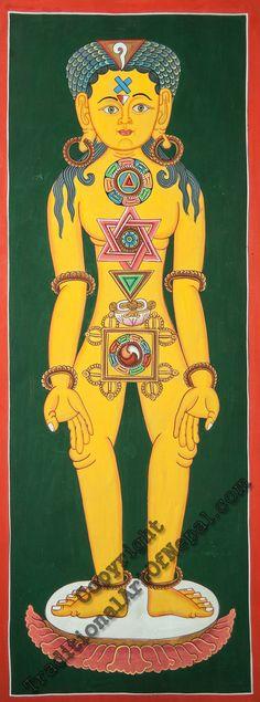 This Thangka painting shows the seven major Chakras of the human body.#sevenchakras #thangka