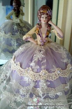 Porcelain Half Doll Pincushion~Dresser Doll. Hand Crafted-Hand Painted _ OOAK