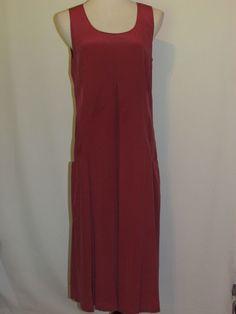 J JILL Sz Med Raspberry 100% Silk Dress Sleeveless Lined Mid Calf Dark Pink #JJill #Shift #Casual