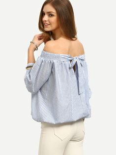 Striped Shoulder Blouse Tie - Spanish SheIn (Sheinside) Source by Long Skirt Outfits, Summer Outfits, Casual Outfits, Simple Outfits For Teens, Simple Dresses, White Pants Outfit, Diy Fashion, Fashion Outfits, Bow Tie Blouse