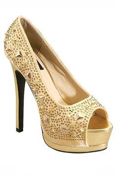 048010a7905 Gorgeous Gold Peep Toe Pumps
