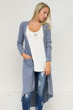 Manhattan Long Hi-Low Button Up Cardigan
