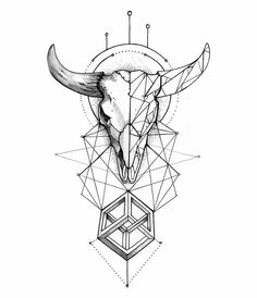 Cool Easy Tattoos for Girls . Cool Easy Tattoos for Girls . Taurus Bull Tattoos, Bull Skull Tattoos, Zodiac Tattoos, Body Art Tattoos, Tattoo Drawings, Sleeve Tattoos, Xoil Tattoos, Octopus Tattoos, Tattoo Ink