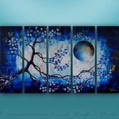 CUSTOM PAINTING Abstract Modern Landscape Tree by GabrielaStauffer, $249.00